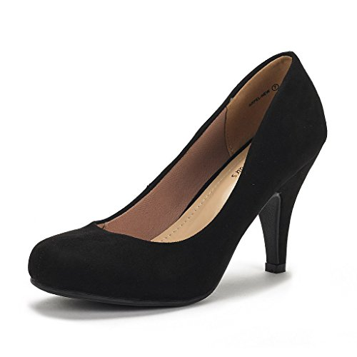 DREAM PAIRS Arpel Women's Formal Evening Dance Classic Low Heel Pumps Shoes New Black Suede Size 11