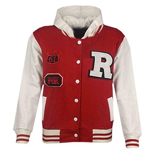 4b1235ba302d Kids Girls Boys R Fashion NYC FOX Baseball Hooded Jacket Varsity ...
