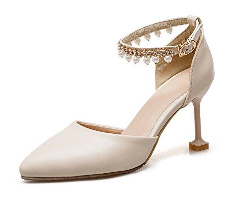 Sandale Aisun Beige Schnalle Perlen Strass Geschlossen mit Damen Stiletto Spitze Knöchelriemchen 00Rqw