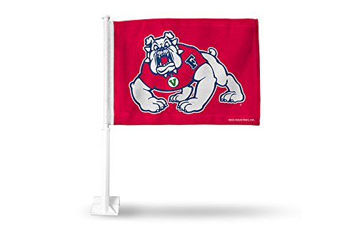 NCAA Fresno State Bulldogs Car Flag, Red, with White Pole - Fresno State Flag