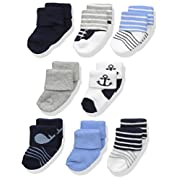 Luvable Friends Unisex 8 Pack Newborn Socks, Nautical, 0-6 Months