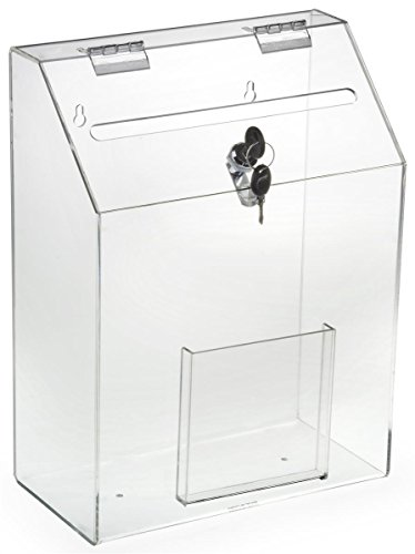 Locking Ballot Box with Front Pocket, Wall Mounting, 2 Keys (Clear Acrylic)