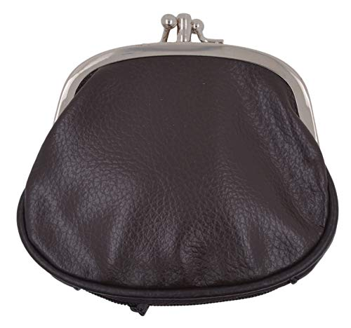 Women's PU Leather Metal Frame Double Clasp Zipper Coin Change Purse (Brown) ()