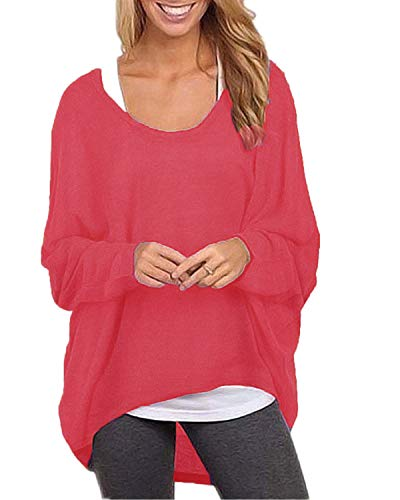 ZANZEA Women's Long Batwing Sleeve Loose Oversize Pullover Sweater Top Blouse Red US 6/Tag Size S