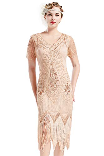 BABEYOND 1920s Art Deco Fringed Sequin Dress 20s Flapper Gatsby Costume Dress (Apricot, Medium)