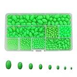 500pcs Luminous Fishing Beads Plastic Round/Oval Shaped Fishing Eggs Assortment Fishing Line Floats Set 8 size