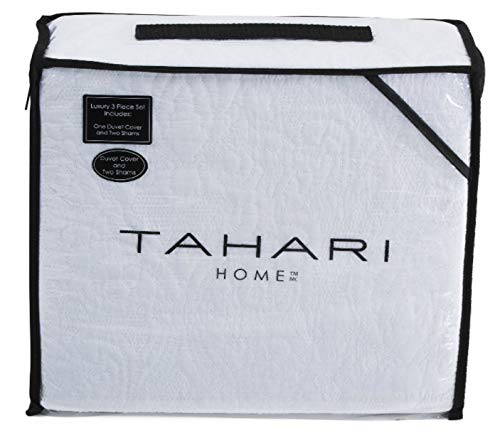 (Tahari Home 100% Cotton Quilted Floral Damask 3pc King Duvet Cover Set Textured Stitching Embroidered)