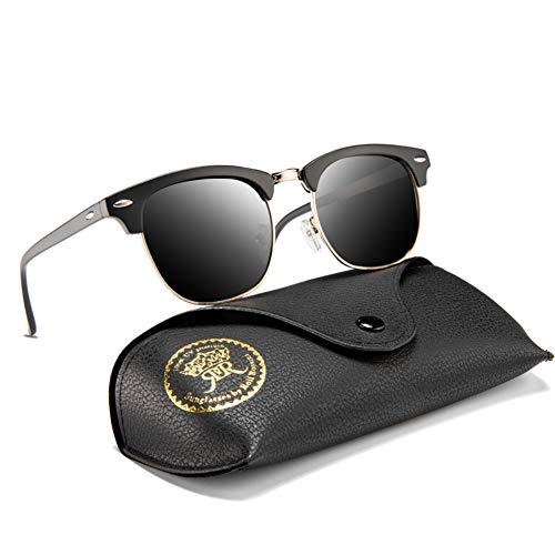 (Mens Sunglasses Polarized Retro Classic Semi Rimless Sun Glasses for Women Vintage UV400 Protection With Case (Sand Black, Grey))