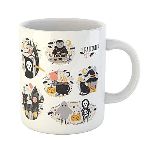 Tarolo 11 Oz Mug Coffee Mug Ceramic Tea Cup Bundle of Halloween Scenes Funny and Spooky Cartoon Characters Vampire Ghost Skeleton Grim Reaper Pumpkin Lantern Large C-handle Family and Office Gift]()