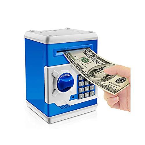 Jhua Cartoon Piggy Bank Password Electronic Money Bank Safe Saving Box ATM Bank Safe Locks Panda Smart Voice Prompt Money Piggy Box for Children (Blue) -