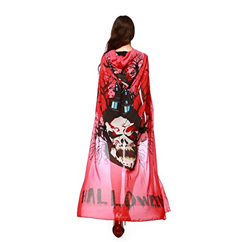 Women Novelty Halloween Wrap Poncho Cape Costume Shawl Skull Cosplay Outfit Red ()
