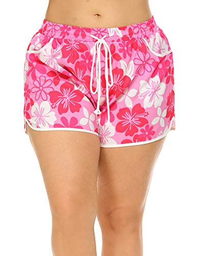 aac1ec78d103 Women s Plus Size Summer Soft Print Floral Boardshort Elastic Waistband Beach  Shorts With Pockets