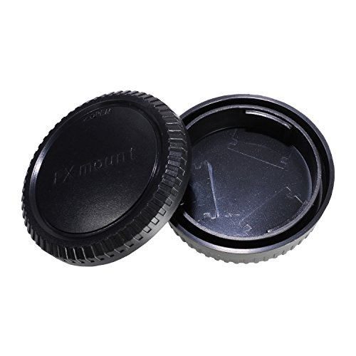 CamDesign Rear Lens Cap and Body Cap Set Compatible with Fuji X Mount Camera fits X-Pro1, X-E1, X-M1, X-A1, X-E2, and X-T1 cameras and XF, XC lenses