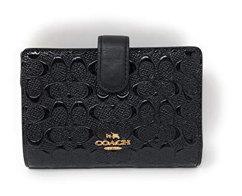 Coach Black Patent Leather Medium Corner Zip Wallet