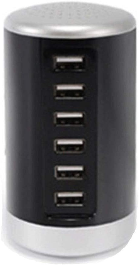 6-Hafen Usb Desktop Charging Station, Multi-Device Desktop Charging Station, mit Stand 6-Hafen Fast Charging + 6-Hafen 5V 1ein für Smartphones und Tablets (Color : White)