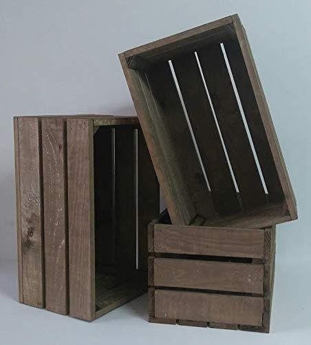rebajas ofertas Pack 3 cajas madera tono envejecido 50x30x25 cm ideal para regalo decorativas opcion de