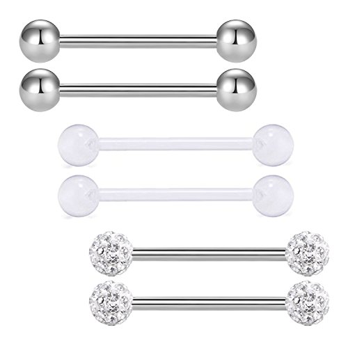 vcmart 2pcs 14G 18mm Tongue Nipple Rings Straight Barbells Body Piercing Jewelry, Silver-Tone ()