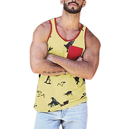 (POQOQ Mens Workout Hooded Tank Tops Sleeveless Gym Cool and Muscle Cut XL Yellow)