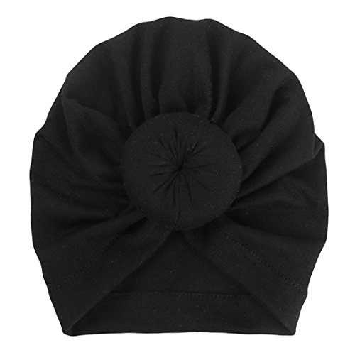 Newborn Cap, Iuhan Baby Turban Knotted Hat Toddler Kids Cap Boy Girl India Hat Lovely Soft Hat (Black) -