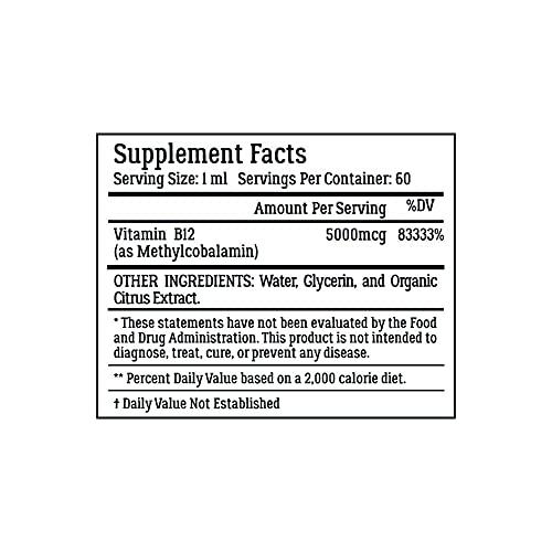 Vegan Vitamin B12 Sublingual Liquid Drops by LiveWell - Methylcobalamin Maximum Strength 5000 mcg Formula - Boost Energy and Mood, Improve Memory, Aid Immune System - 60 Servings
