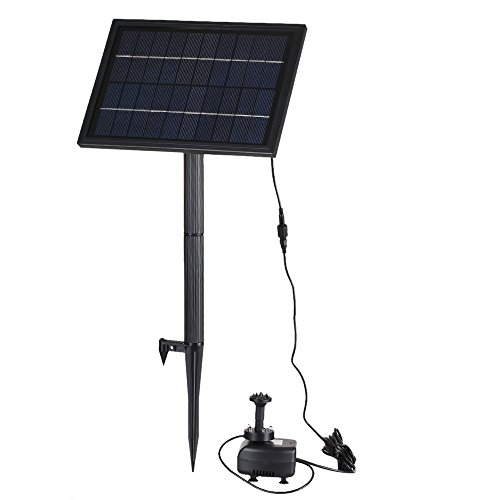 Anself 10V 5W Solar Power Brushless Water Pump Submersible Fountain Garden Pond Pump, Built-in Storage Battery, 200L/H Lift 150cm