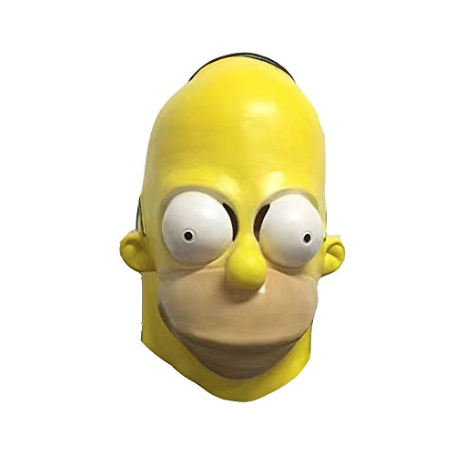 Molagogo The Homer Simpsons Latex Halloween Simpsons Cosplay Mask for Men Full Face Funny Party Mask Carnival Prop -