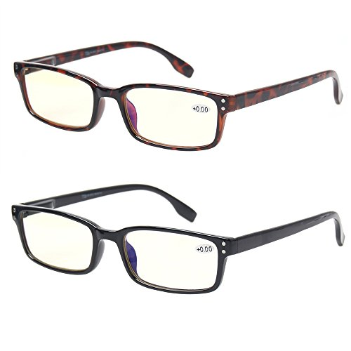 Computer Glasses 2 Pair UV Protection, Anti Blue Rays, Anti Glare and Scratch Resistant Computer Reading Glasses (1.0, 2 Pack Mix Color)