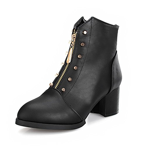 AgooLar Women's Low-top Solid Zipper Closed Pointed Toe Kitten-Heels Boots Black