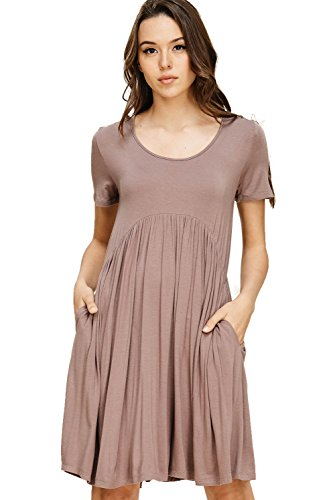 Annabelle Women's Solid Print Scoop Neck Pleated Waist Short Sleeve Scoop Neck Short Length Dress with Side Slanted Pockets Taupe Grey Small D5419K -