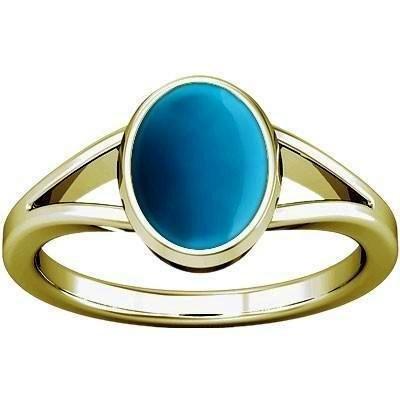 - Divya Shakti 12.25-12.50 Carats Turquoise Panchadhatu Ring ( FIROZA / FEROZA STONE RING ) 100 % ORIGINAL NATURAL GEMSTONE AAA QUALITY