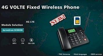 4G Wireless gsm - Teléfono Fijo analógico (inalámbrico), Negro