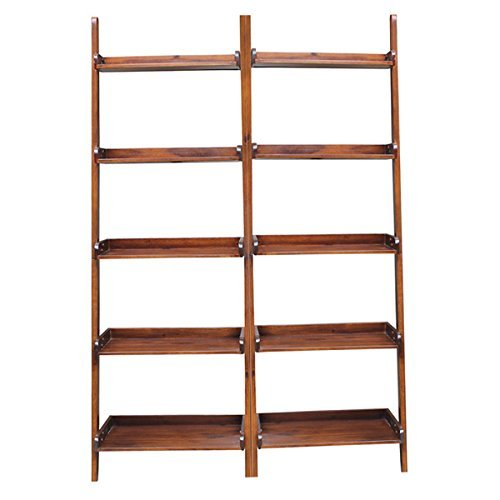 Lean-to 5-tier Shelf Unit Set (Set of 2), Brown by International Concepts