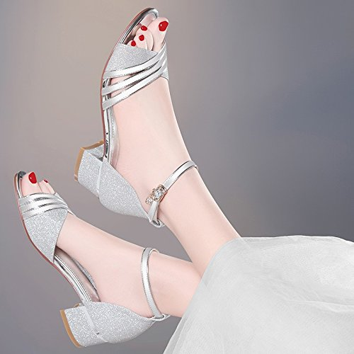 Tassel Fish Midsummer Mouth Shoes heels Sandals Summer Summer High Heeled Jqdyl Thick Silver Hollow New Sandals High Rhinestone q47pH7