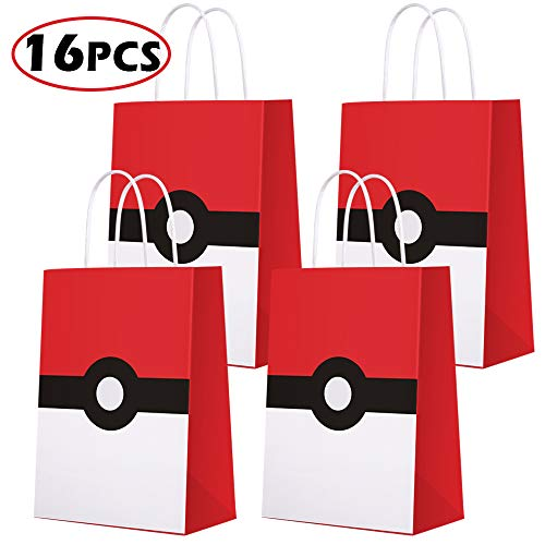 Game Theme Birthday Party Paper Gift Bags for Pokemon Party Supplies Birthday Party Decorations - Party Favor Goody Treat Candy Bags for Nintendo Game Kids Adults Birthday Party Decor- 16 PCS -