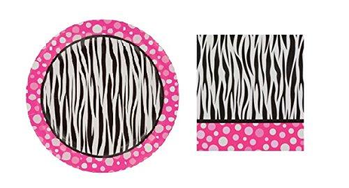 Pink Polka Dot Zebra Print Paper Small Plates & Beverage Napkin ()