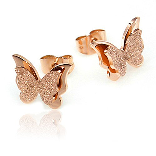 Butterfly Earrings, Rose Gold Tone Frosted Stainless Steel Cute Ear Studs for Women Girls Gift