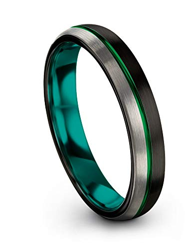 Chroma Color Collection Tungsten Wedding Band Ring 4mm for Men Women Aqua Teal Interior Green Center Line Dome Black Grey Half Brushed Polished Size 4