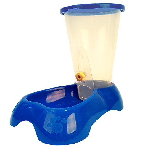 Mainstreet Pet Dog Cat Feeder Food Auto Dispenser 0.9/1.8 Pound Capacity (M, Blue)