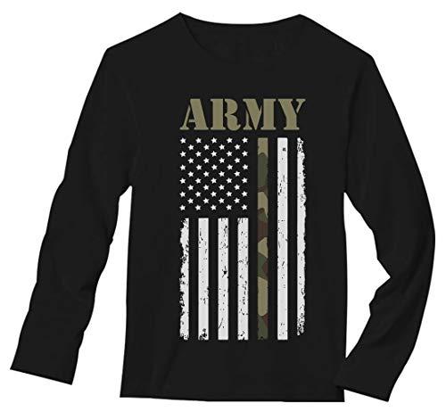 Big USA Army Flag - Gift for Soldiers, Veterans Military Long Sleeve T-Shirt Small Black