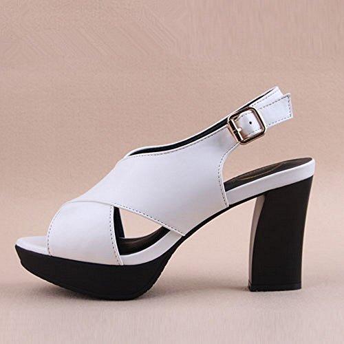 zapatos toe peep verano se BAJIAN sandalias bajos sandalias LI zapatos heelsWomen Alto Chanclas oras YqxaBR