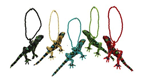 (Mayan Arts Gecko, Beaded Lizard, Small Hanging Animals, Novelty Figure, Assorted Colors, Handmade in Guatemala (4))