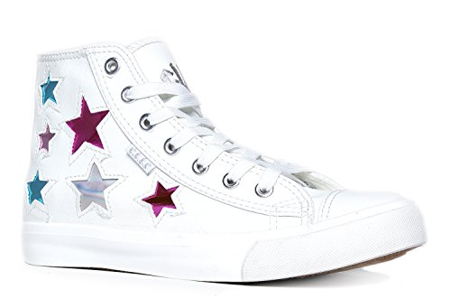 High Top Lace Up Embellished Sneaker - Casual Walking Metallic Star Shoe - Klutch by Cute to the Core, Star White, 7 B(M) US