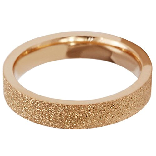 Bishilin Women's Stainless Steel Plated 18k Gold Rings Sandblast Finished Rose Golden 4MM Size 6