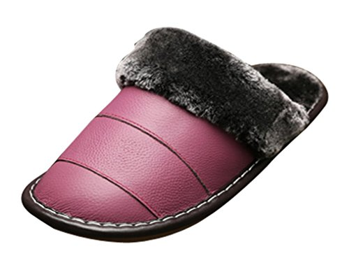 Cattior Womens Winter Indoor Outdoor Warm Fluffy Slippers Leather Slippers Purple hijx1Q7NMW