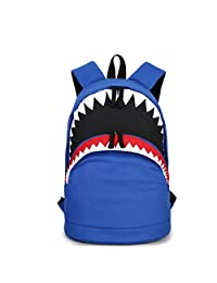 DoDoMall 3D Shark Backpack Kids Book Bag School Bag Canvas School Backpack for Teen Girls (Blue)