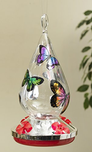 Beautiful and Pretty Hummingbird Feeder with Butterfly Accents Home and Garden Decor ~ Hand Blown Glass (Cone Shape)