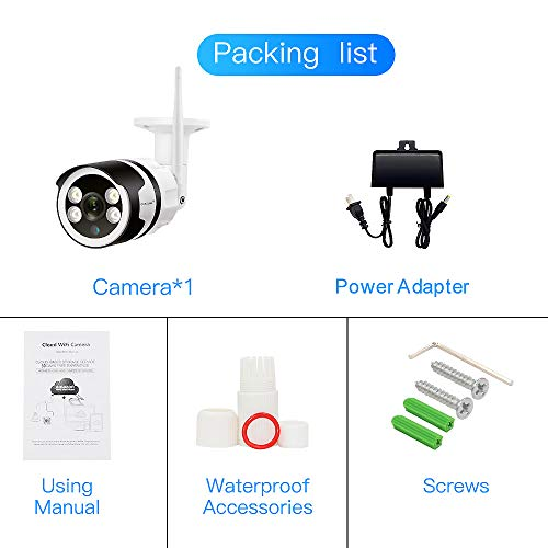 Floodlight Outdoor Security Camera, HD1080P WiFi Bullet Camera Wireless Home Surveillance Cameras, Network IP Camera Work with Alexa, IP66 Waterproof, Motion Detection, Activity Alert, Two-Way Audio