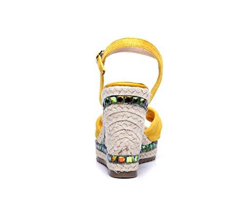 Kengät Kesän Keltainen 34 Muoti Koko Sandaalit Paksu Kiilat väri Hyvät Kudottu wUZTUE