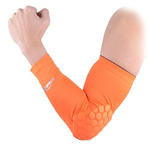 COOLOMG 1PCS CHILD KIDS Combat Basketball Pad Protector Gear Shooting Hand Arm Elbow Sleeve Adult Child Orange XL