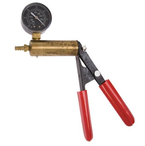 The Phenom Solid Brass Cylinder and Steel Handle Frame Hand Operated Design Vacuum Pump Pressure Gauge with Dual Calibration Vacuum Gauge, 0-30 in Hg, 0-760 mm Hg by The Phenom